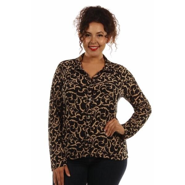 24/7 Comfort Apparel Women's Plus Size Cream&Black Swirl Print Collar Blouse