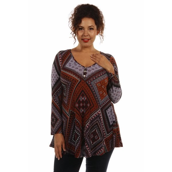 Seductive Patterned Plus Size Top
