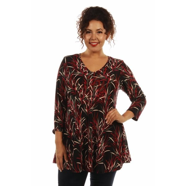 Soft Bamboo Print Plus Size Tunic Top