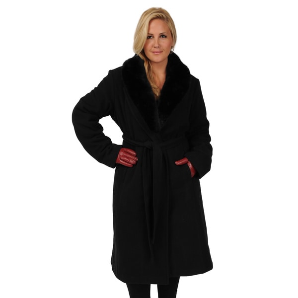 Excelled Women's Plus Size Belted Full-length Swing Coat 2X Large Size in Black (As Is Item)
