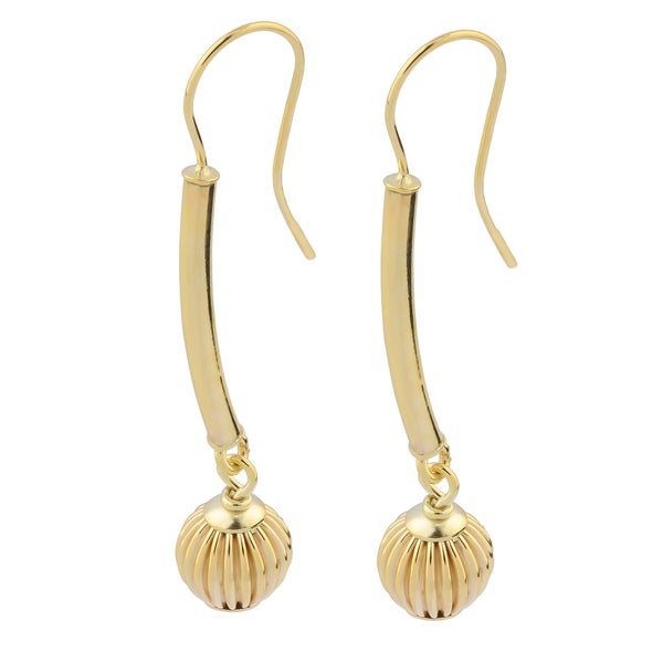 Fremada Italian 14k Yellow Gold Fluted Ball Stick Drop Earrings