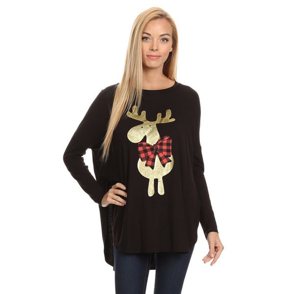 Moose with Plaid Bow Graphic Tee