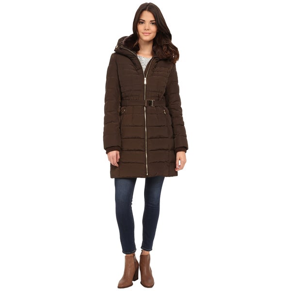 Michael Kors Women's Brown Down/Polyester Belted Hooded Coat