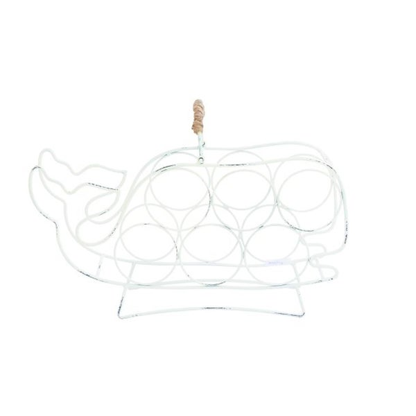 Benzara White Iron Whale-shaped Wine Holder