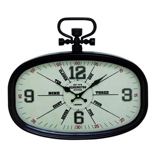 Benzara Chic Black Metal Oval Wall Clock