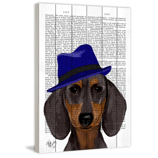 Marmont Hill - 'Dachshund with Blue Trilby' Painting Print on White Wood
