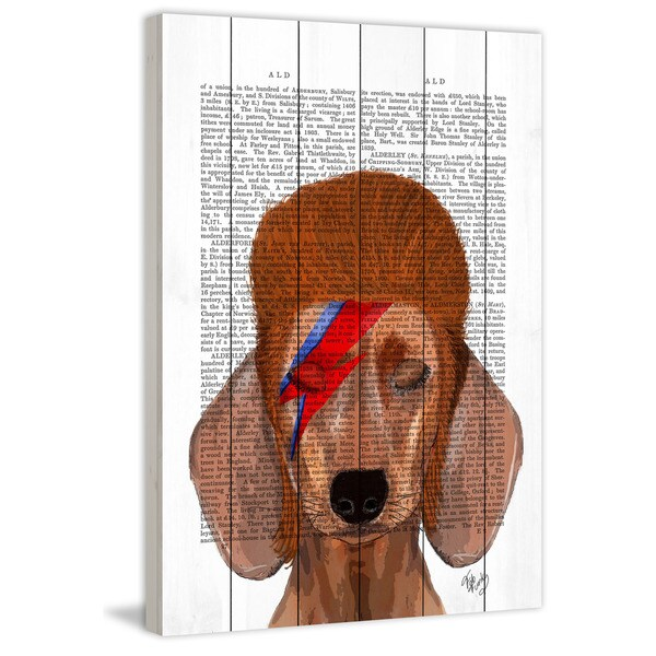 Marmont Hill - 'Aladdin Sane Dachshund' Painting Print on White Wood