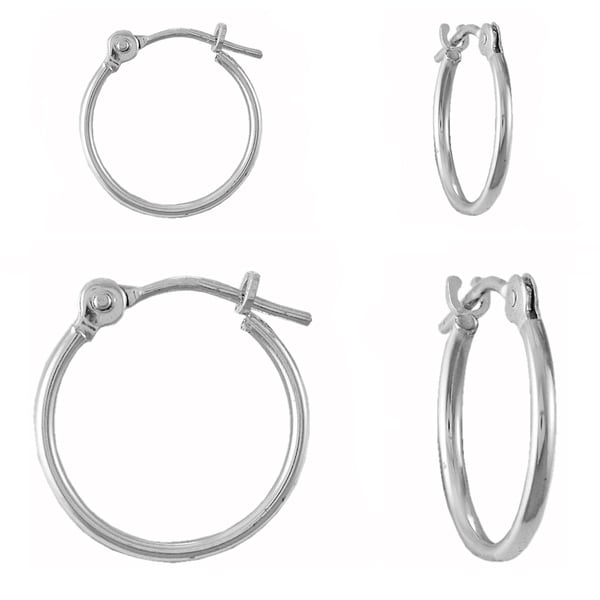 10k White Gold Hoops (Set of 2)