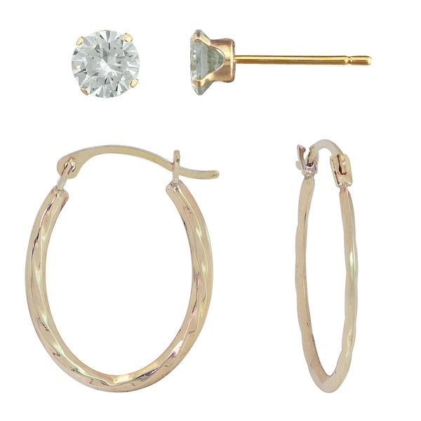 10k Gold Hoop Earring and 4-prong Cubic Zirconia Stud Set