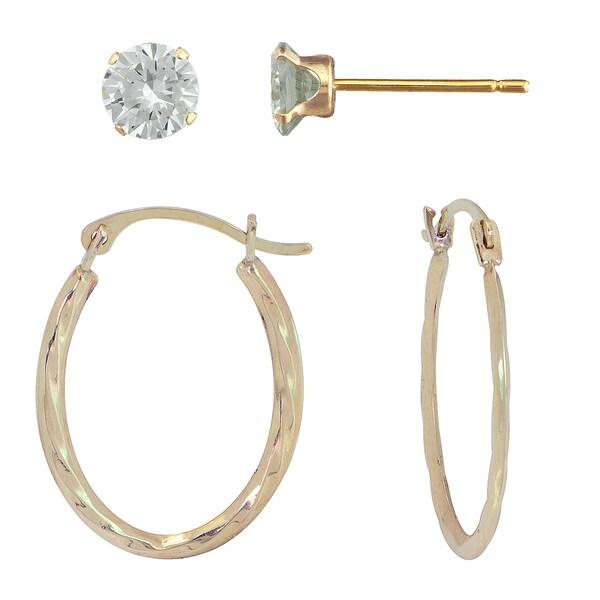10k Gold Hoop Earring and 4-prong Cubic Zirconia Stud Set