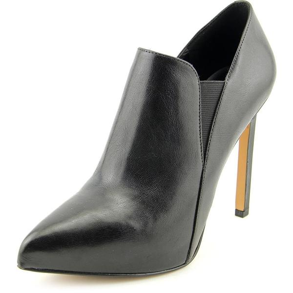 Nine West Women's Leandra Black Leather High-heel Ankle Boots