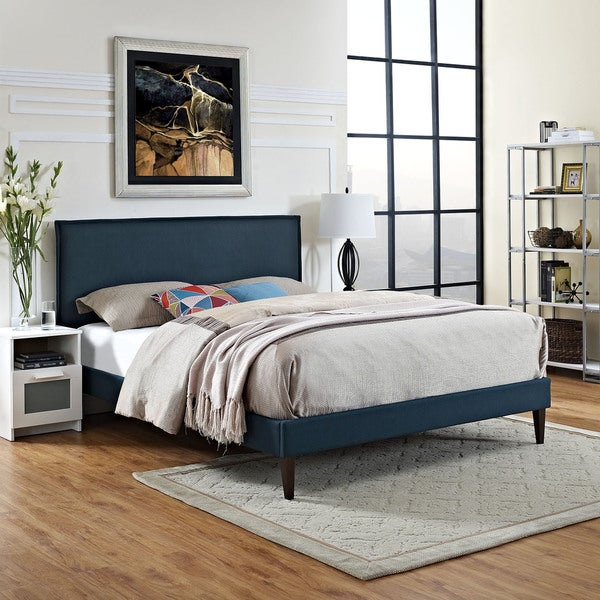 Camille Off-white Fabric/ Wood Platform Bed with Squared Tapered Legs