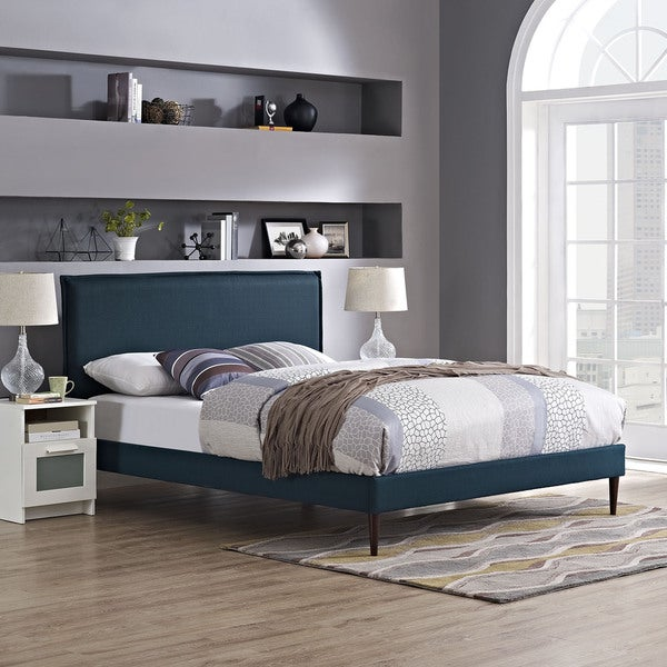 Modway Camille Azure Fabric Round Tapered Legs Platform Bed