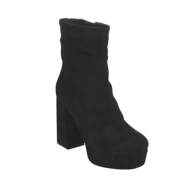 Bonnibel Women's GF44 Black Faux Suede Inside-zipper Block High-heel Platform Ankle Booties