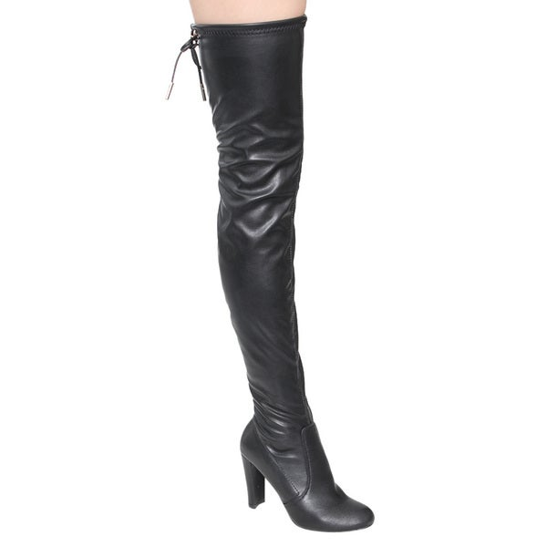 Nature Breeze FE63 Women's Drawstring Snug Fit Block Heel Thigh-High Boots
