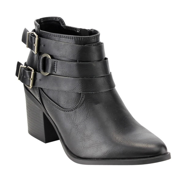 Soda Women's FE78 Double Buckle Strapped Stacked Block Heel Ankle Booties