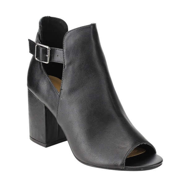 Bamboo Women's Black/ Brown Faux-leather High Block Heel Ankle Bootie