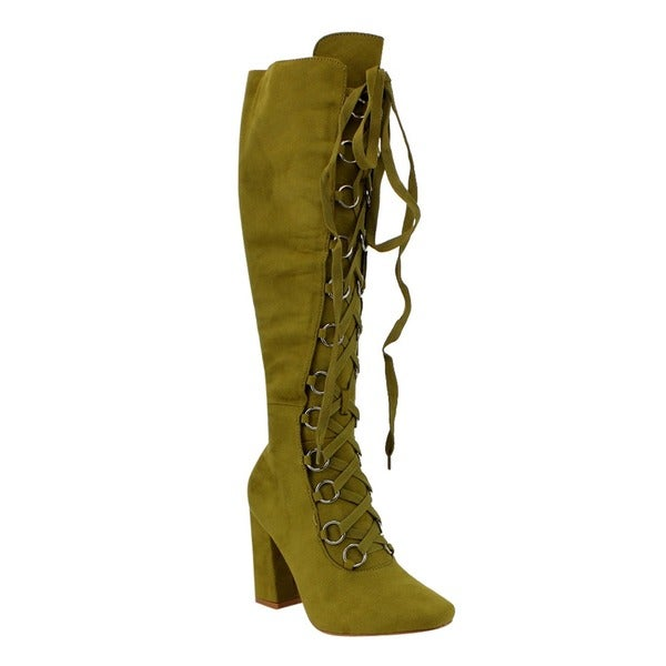 Cape Robbin FE92 Women's Black/Dusty Rose/Olive Faux Suede Lace-up Knee-high Chunky Block Heel Boots