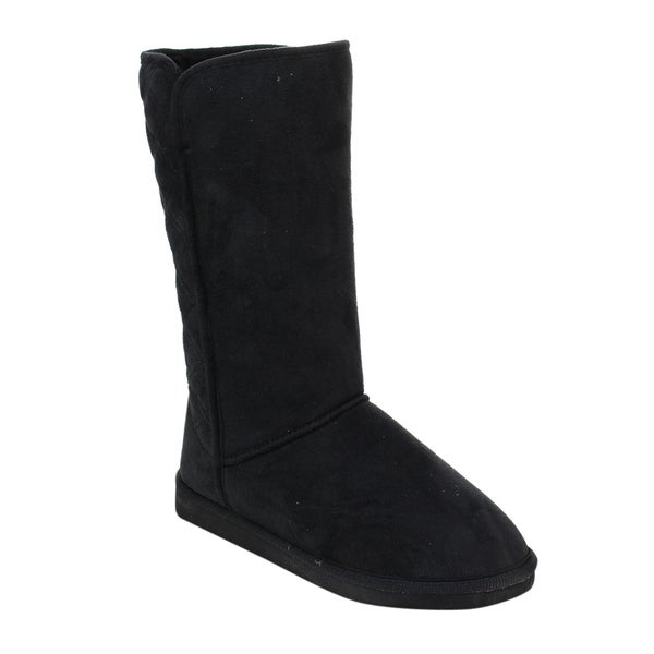 Women's Faux Suede Pull-on Flat Platform Under-knee Snow Boots