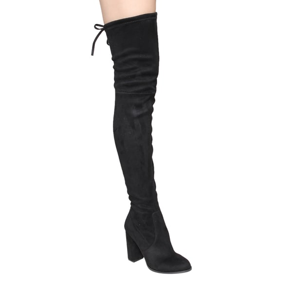 Beston Women's GF58 Drawstring Inside Zip Block Heel Snug Fit Thigh High Boots