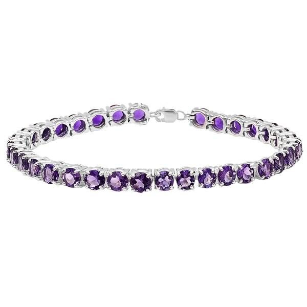 Ladies' Sterling Silver 15-carat Round-cut Amethyst Tennis Bracelet