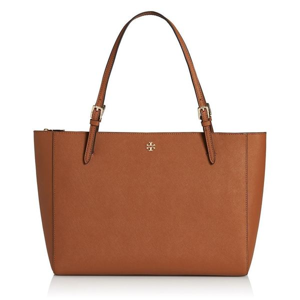 Tory Burch York Brown Leather Buckle Tote Bag