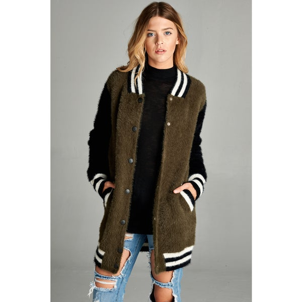 Spicy Mix Tamia Olive Polyester Fuzzy Contrast Snap Front Bomber Jacket