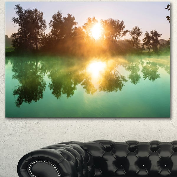 Beautiful Summer River At Sunset - Oversized Landscape Canvas Art