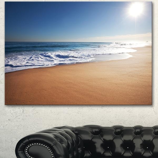Calm Blue Beach under Bright Sun - Seashore Canvas Wall Artwork