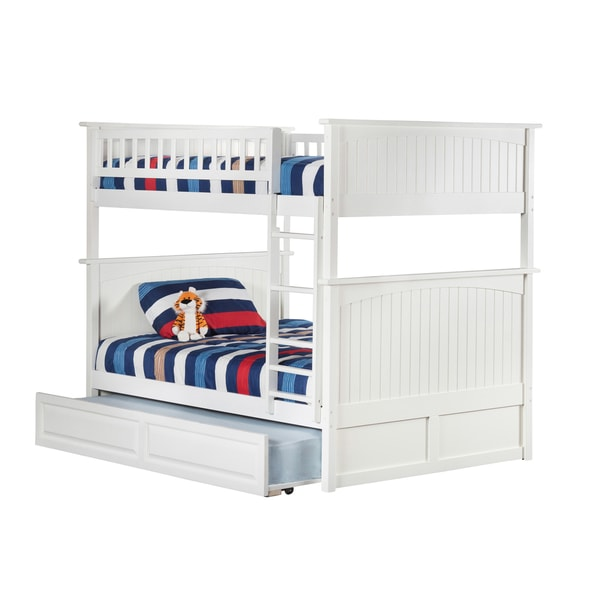 Nantucket White Full-over-full Bunk Bed with Raised Panel Trundle