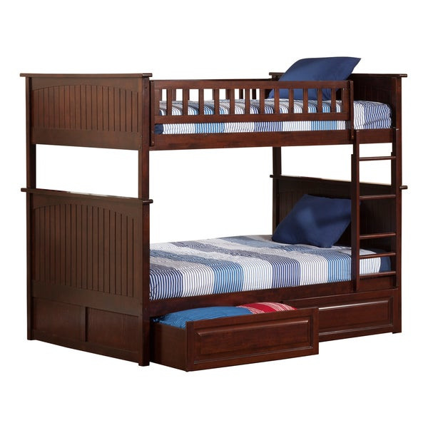 Nantucket Bunk Bed Full Over Full With Raised Panel Bed Drawers In