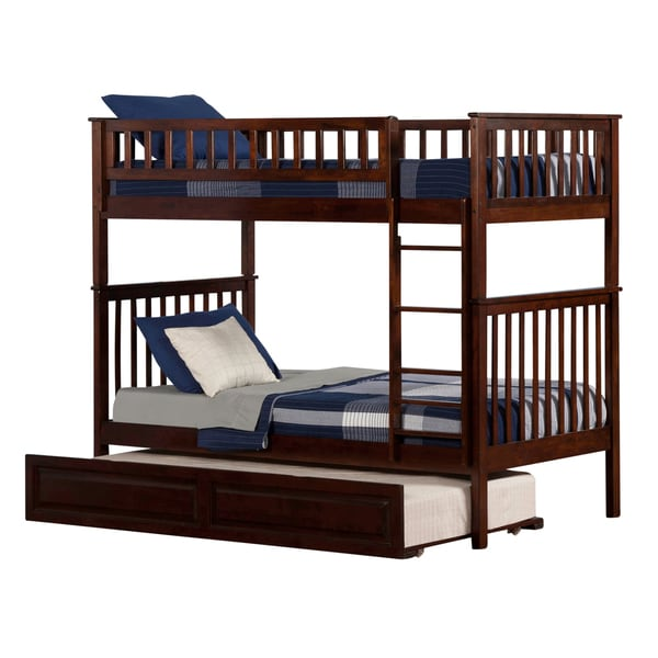 Woodland Walnut Twin-over-twin Bunk Bed with Trundle Bed