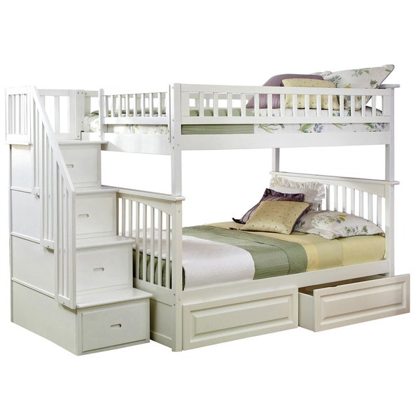 Columbia Staircase Bunk Bed Full over Full with Raised Panel Bed Drawers in White