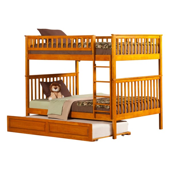 Woodland Caramel Latte Full-over-full Bunk Bed with Trundle Bed