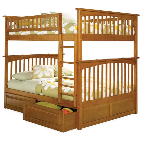 Columbia Bunk Bed Full over Full with Raised Panel Bed Drawers in Caramel Latte