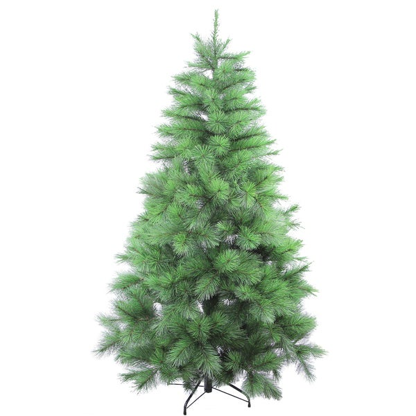 Green 6-foot Artificial Christmas Pine Tree with 589 Feel-real Needle Tips