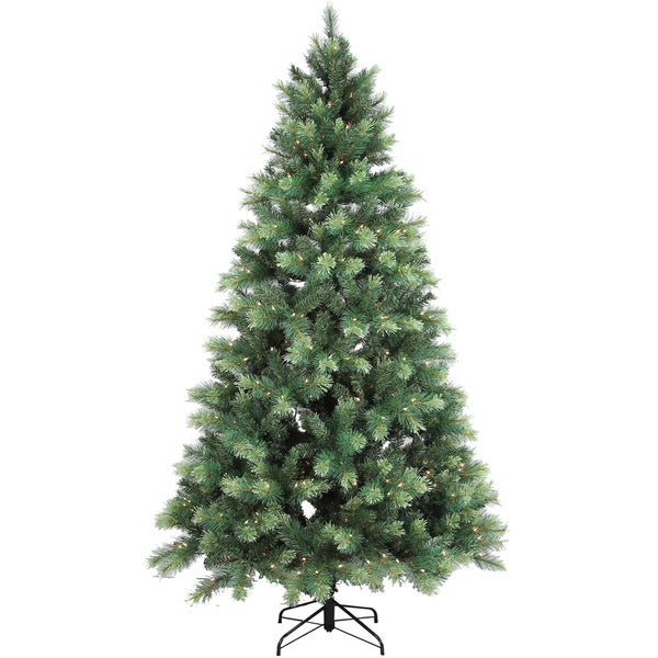 Artificial Christmas Green/ Two-tone 7.5' Mixed Pine Tree With 500 Clear Lights and 1157 Tips