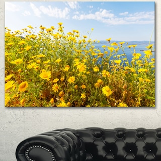 Little Yellow Flowers over Seashore - Large Flower Wall Artwork