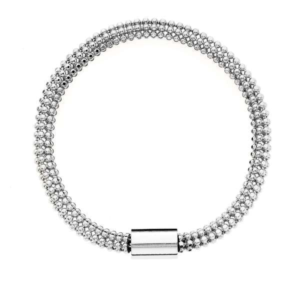 Isla Simone - Fine Silver Electro Plated Flexible Bead Chain Tube Bracelet