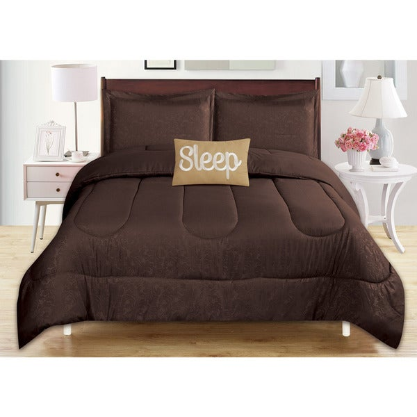 4-Piece Babylon Chocolate Brown Embossed Comforter Set