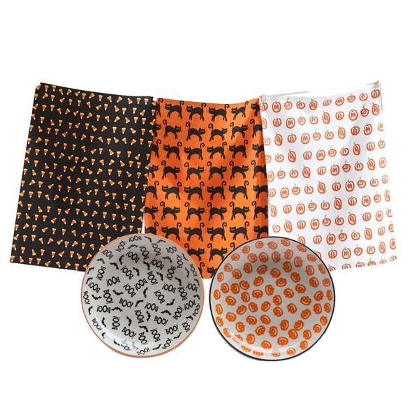 TAG Halloween Dishtowel and Plate Set (1 each)