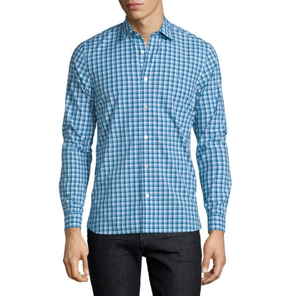 Burberry Garrison Blue Check Cotton Shirt