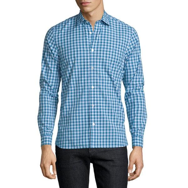 Burberry Garrison Blue Check Cotton Shirt