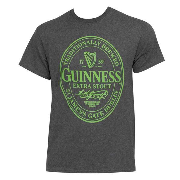 Guinness Green Logo Men's Grey Cotton/Polyester T-shirt