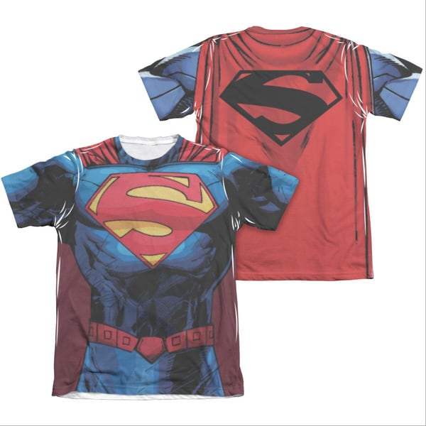 Blue Polycotton Superman New 52 Costume Sublimation T-shirt