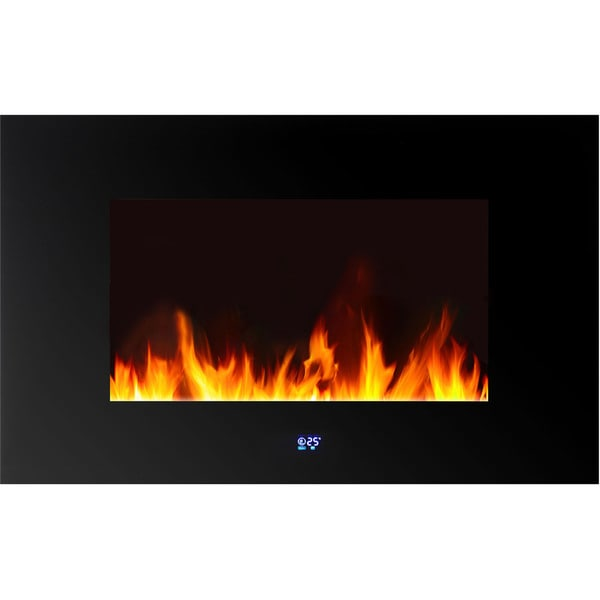 Warm House Venice Black Metal/Glass Horizontal Wall-mounted LED Fireplace with Digital Display and Remote Control
