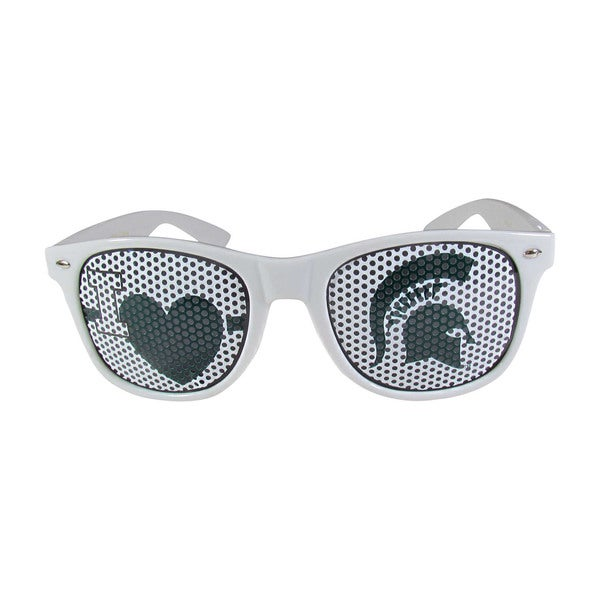 Siskiyou NCAA Michigan State Spartans Sports Team Logo I Heart Game Day White Polycarbonate Shades 21626190