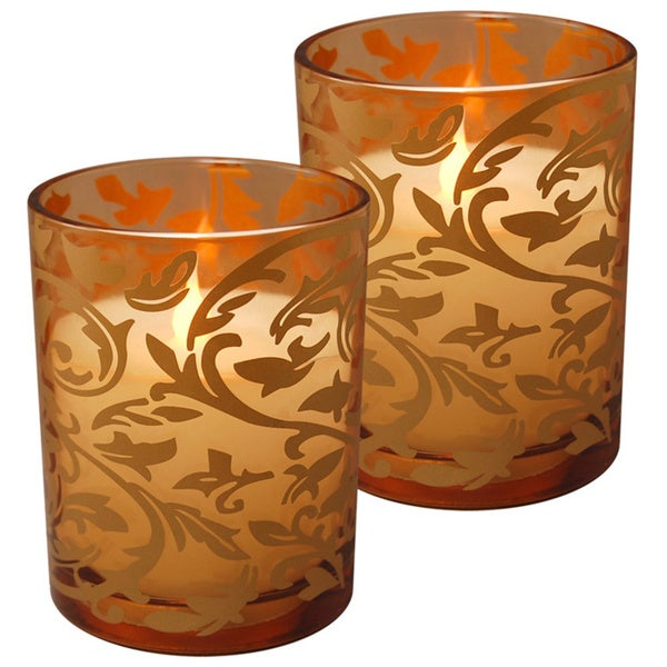 Jaquard-design 2-piece Battery-operated LED Candle Pack