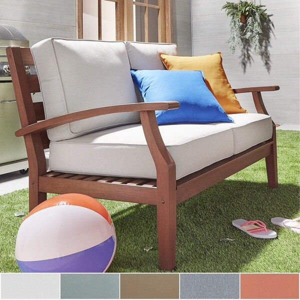 Yasawa Brown Modern Outdoor Cushioned Wood Loveseat iNSPIRE Q Oasis 21639017