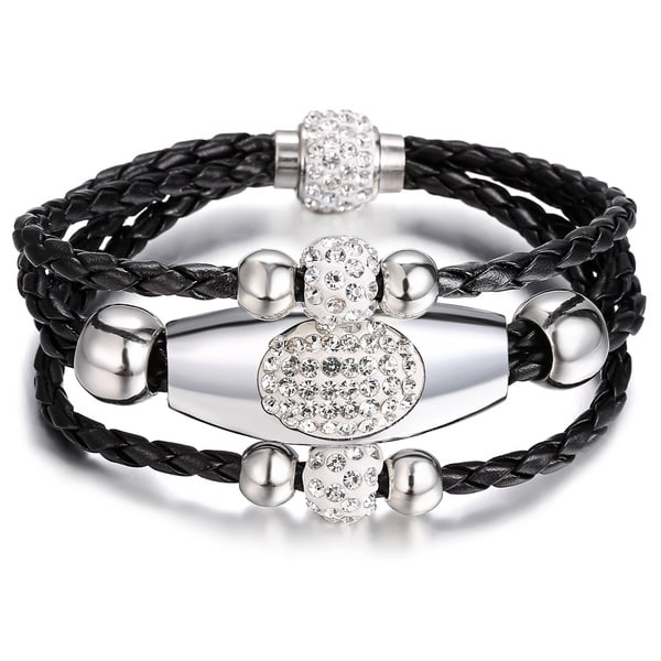 Black Three-row Leather Wrap Bracelet